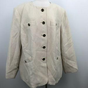 Kasper Beige Long Sleeve Blazer  Size -22W.